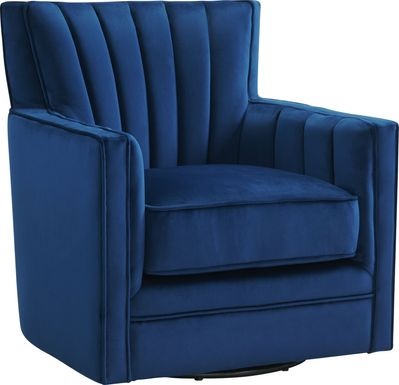 Chippenham Blue Accent Swivel Chair
