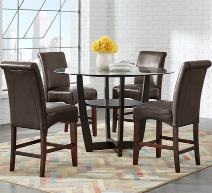 "Ciara Espresso 5 Pc 48"" Counter Height Dining Set with Brown Stools"