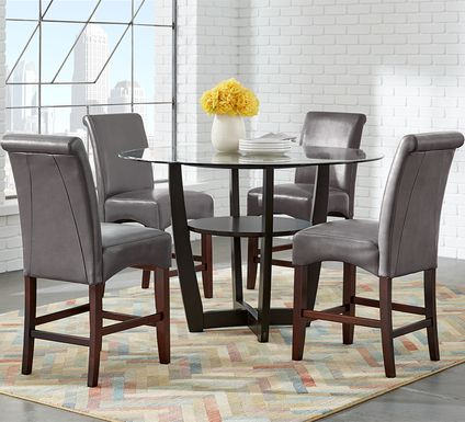 "Ciara Espresso 5 Pc 48"" Counter Height Dining Set with Charcoal Stools"