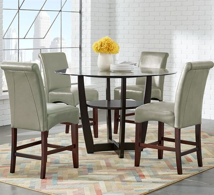 "Ciara Espresso 5 Pc 48"" Counter Height Dining Set with Green Stools"