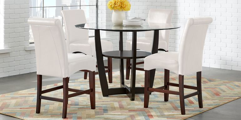"Ciara Espresso 5 Pc 48"" Counter Height Dining Set with Ivory Stools"
