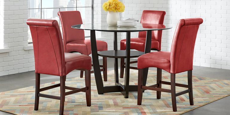"Ciara Espresso 5 Pc 48"" Counter Height Dining Set with Red Stools"