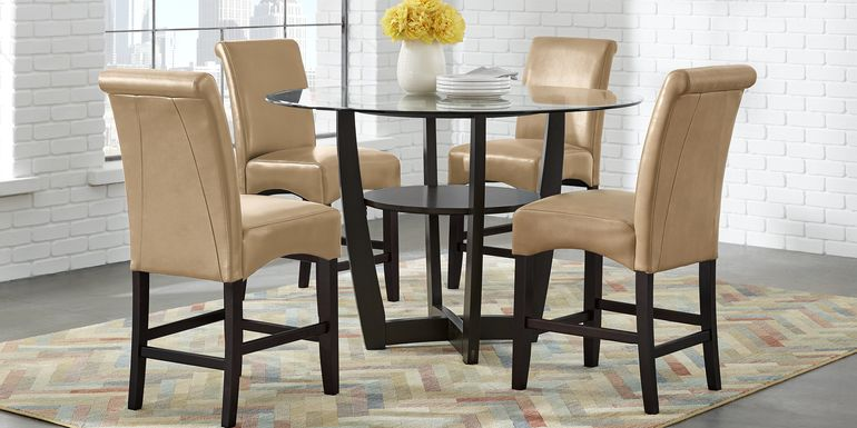 "Ciara Espresso 5 Pc 48"" Counter Height Dining Set with Tan Stools"