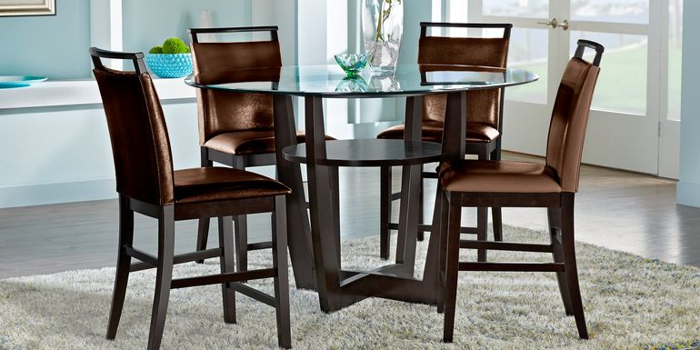 "Ciara Espresso 5 Pc 48"" Round Counter Height Dining Set with Brown Stools"