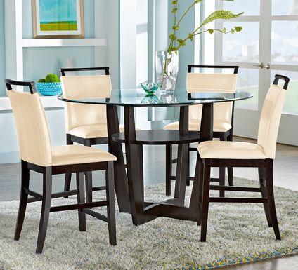 "Ciara Espresso 5 Pc 48"" Round Counter Height Dining Set with Cream Stools"