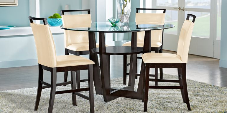 "Ciara Espresso 5 Pc 48"" Round Counter Height Dining Set with Cream Stools"