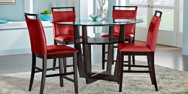 "Ciara Espresso 5 Pc 48"" Round Counter Height Dining Set with Red Stools"