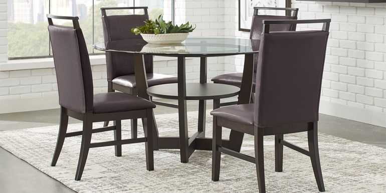 "Ciara Espresso 5 Pc 48"" Round Dining Set with Brown Chairs"