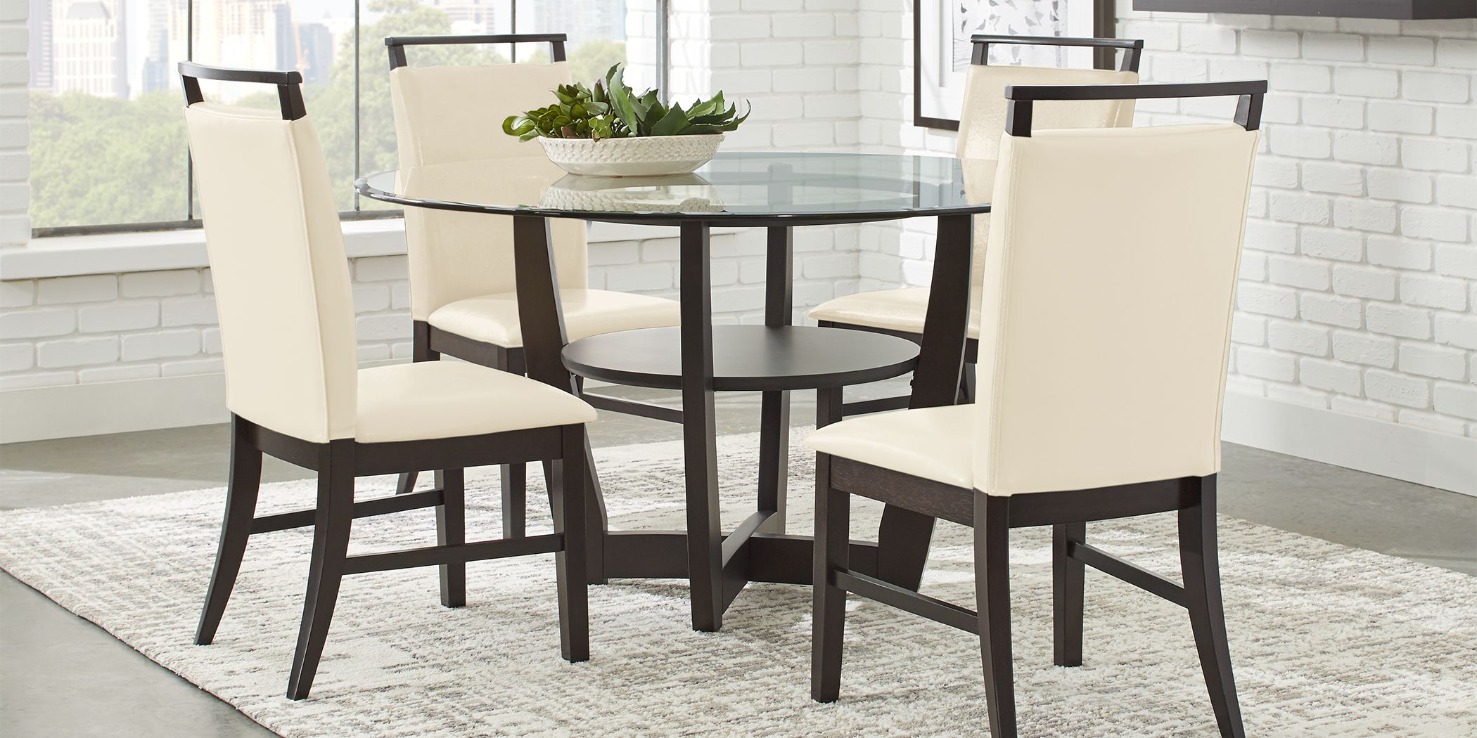 "Ciara Espresso 5 Pc 48"" Round Dining Set with Cream Chairs"