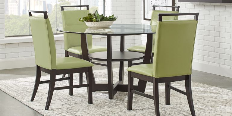 "Ciara Espresso 5 Pc 48"" Round Dining Set with Green Chairs"