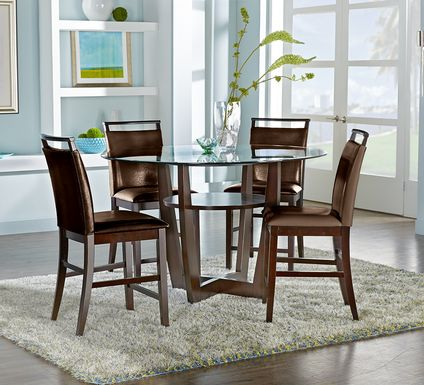 "Ciara Espresso 5 Pc 54"" Round Counter Height Dining Set with Brown Stools"