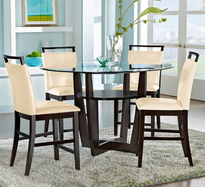 "Ciara Espresso 5 Pc 54"" Round Counter Height Dining Set with Cream Stools"
