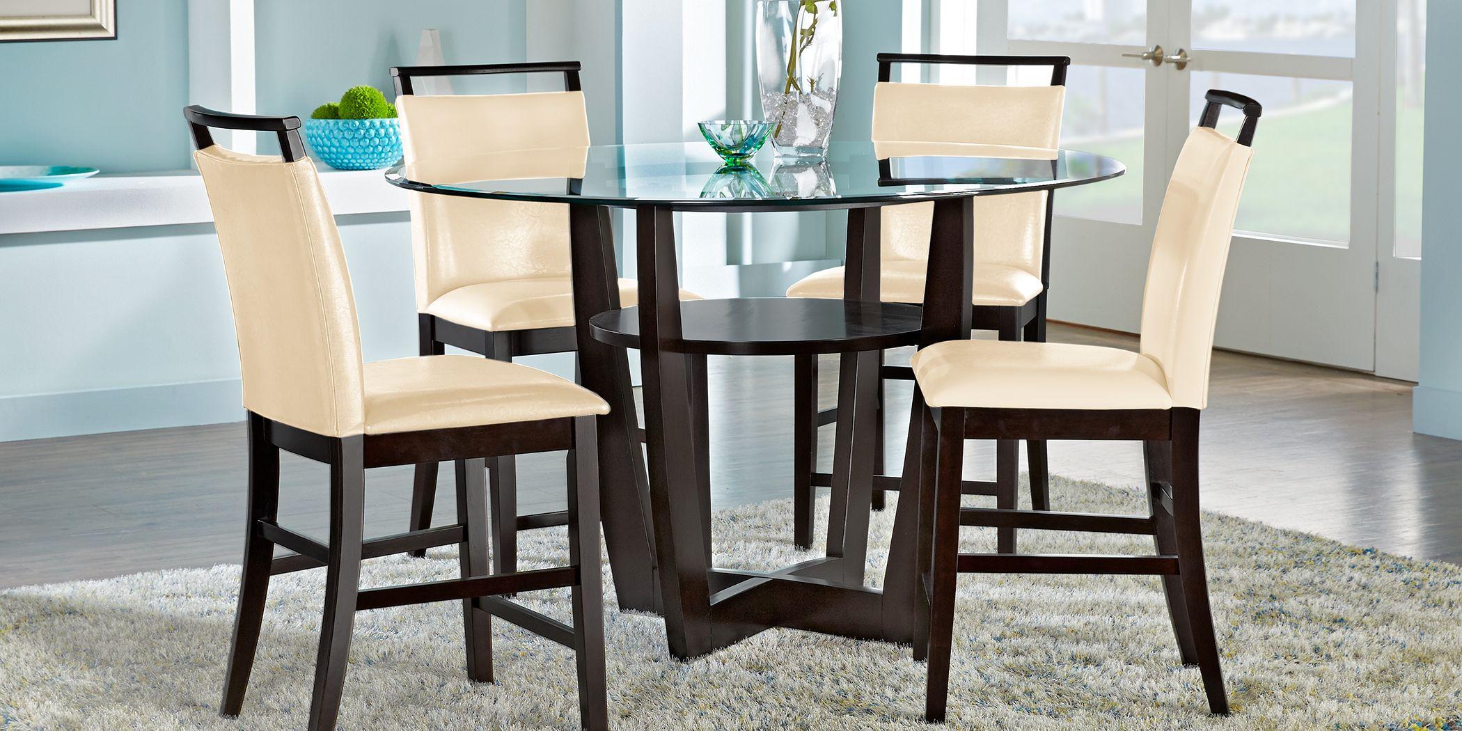 "Ciara Espresso 5 Pc 54"" Round Counter Height Dining Set with Cream Stools"