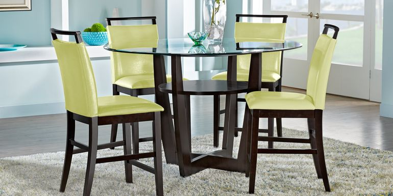 "Ciara Espresso 5 Pc 54"" Round Counter Height Dining Set with Green Stools"