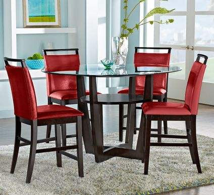 "Ciara Espresso 5 Pc 54"" Round Counter Height Dining Set with Red Stools"