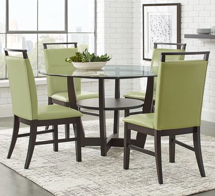 "Ciara Espresso 5 Pc 54"" Round Dining Set with Green Chairs"