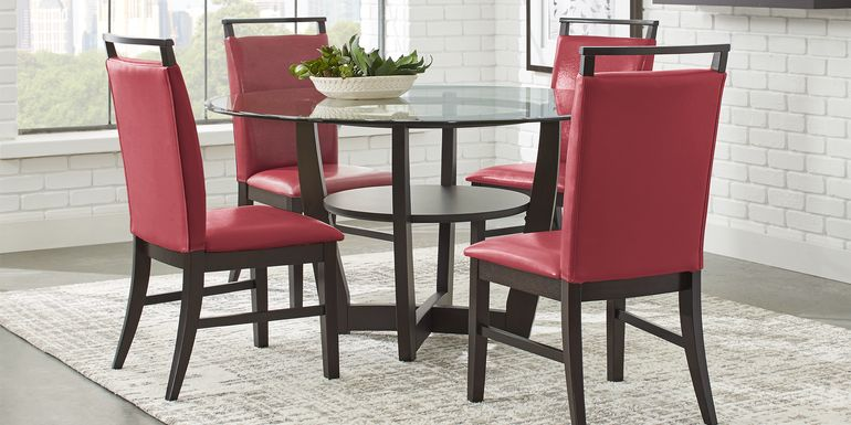"""Ciara Espresso 5 Pc 54"""" Round Dining Set with Red Chairs"""