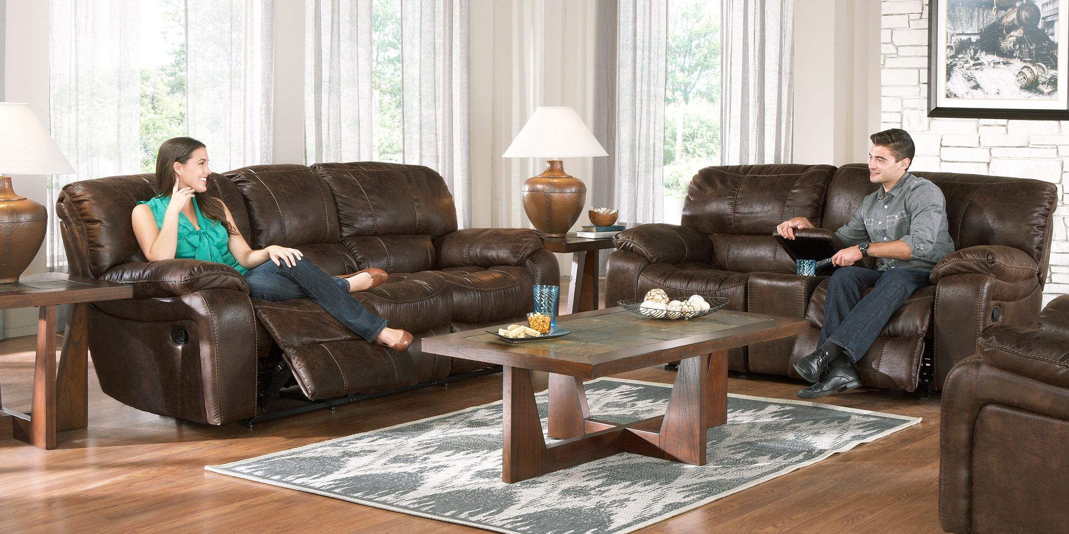Cindy Crawford Home Alpen Ridge Brown 7 Pc Reclining Living Room