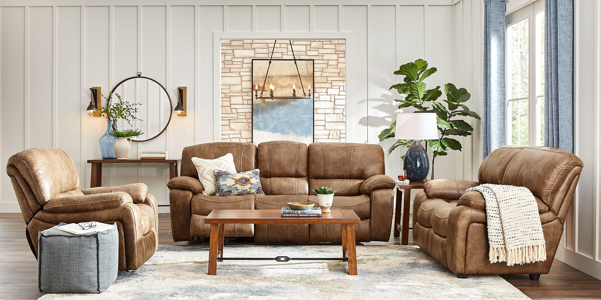 Cindy Crawford Home Alpen Ridge Tan 3 Pc Living Room with Reclining Sofa