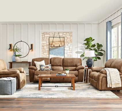 Cindy Crawford Home Alpen Ridge Tan 5 Pc Living Room with Reclining Sofa