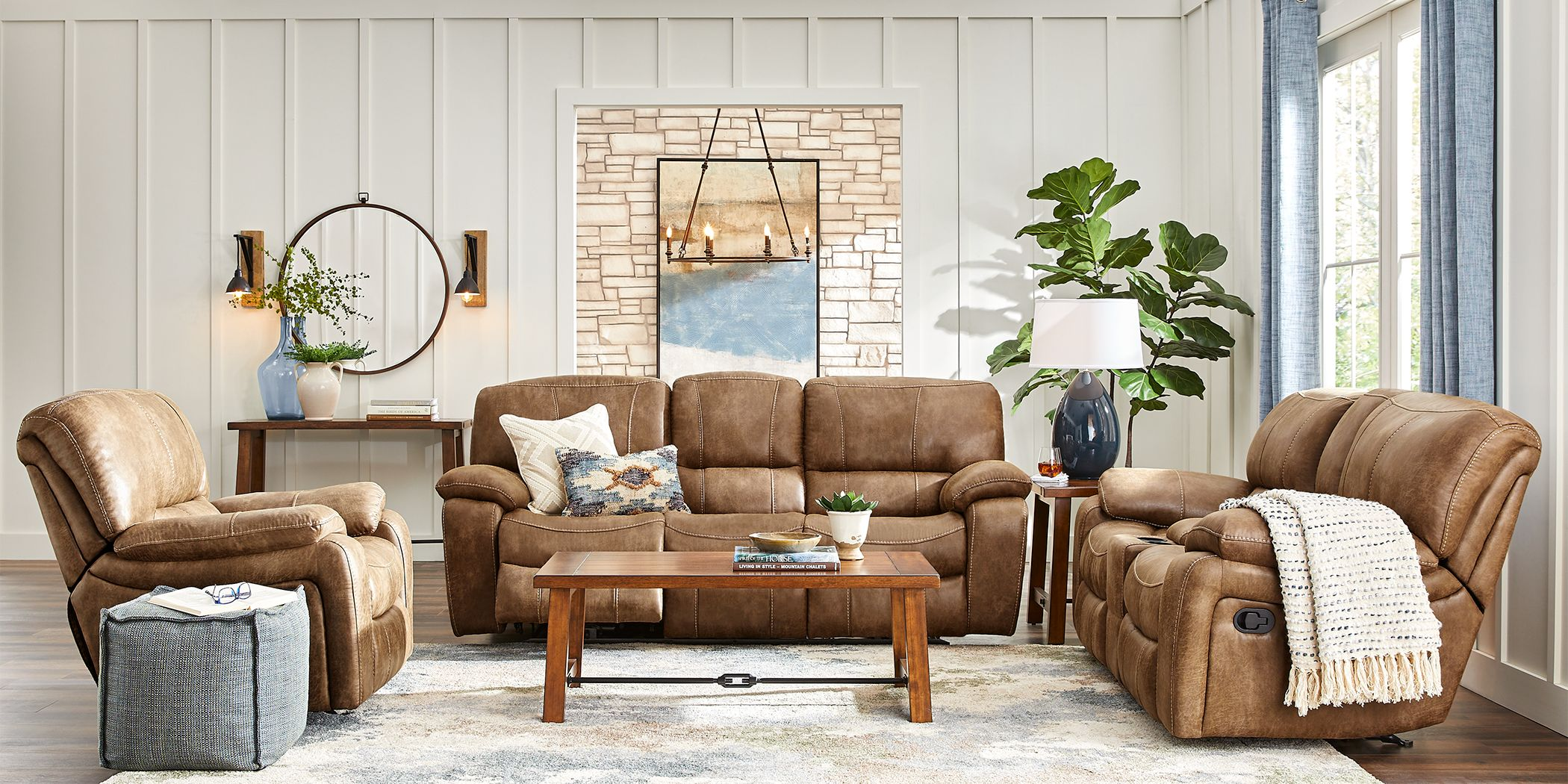 Cindy Crawford Home Alpen Ridge Tan 5 Pc Reclining Living Room