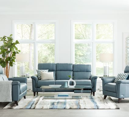 Cindy Crawford Home Avezzano Blue 3 Pc Leather Living Room with Dual Power Reclining Sofa