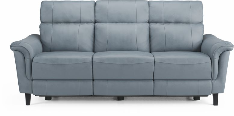 Cindy Crawford Home Avezzano Blue Dual Power Reclining Leather Sofa