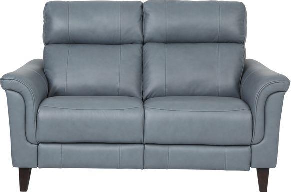 Cindy Crawford Home Avezzano Blue Leather Loveseat