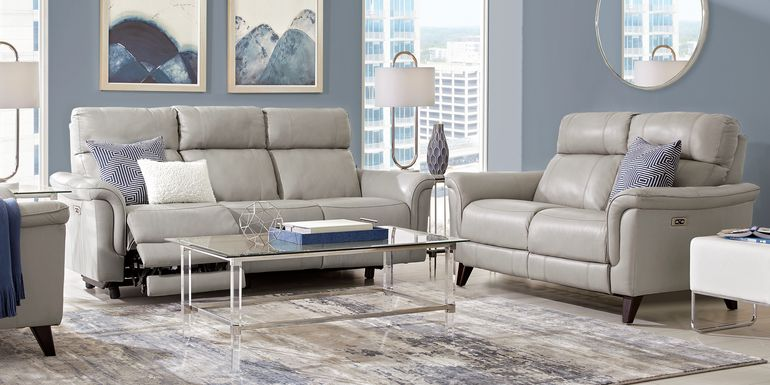 Cindy Crawford Home Avezzano Stone 3 Pc Leather Living Room with Dual Power Reclining Sofa