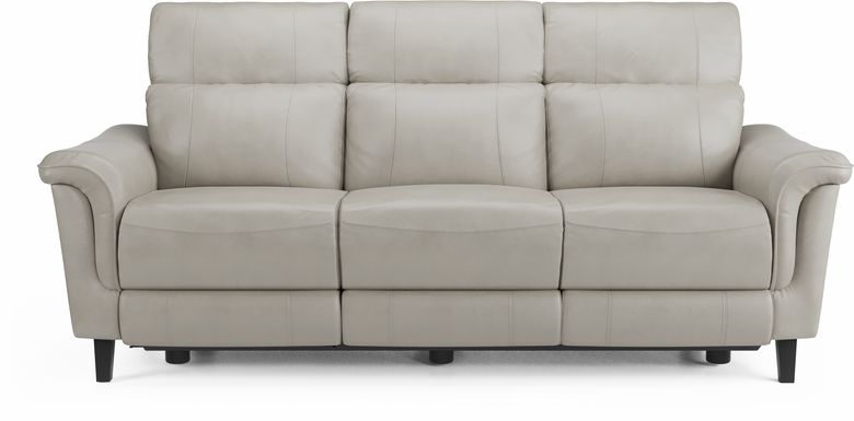 Cindy Crawford Home Avezzano Stone Dual Power Reclining Leather Sofa
