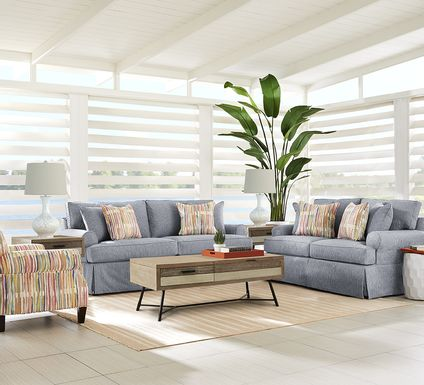 Cindy Crawford Home Beachside Walk Blue Denim 7 Pc Living Room