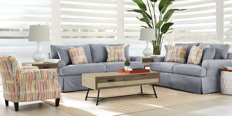 Cindy Crawford Home Beachside Walk Blue Denim 7 Pc Living Room