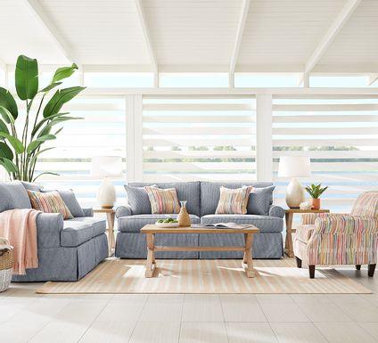 Cindy Crawford Home Beachside Walk Blue Denim 8 Pc Living Room