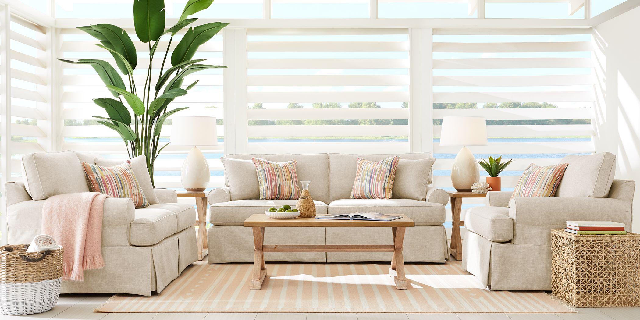 Cindy Crawford Home Beachside Walk Linen Textured 7 Pc Living Room