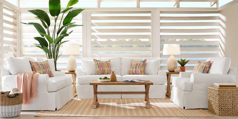 Cindy Crawford Home Beachside Walk White Denim 8 Pc Living Room
