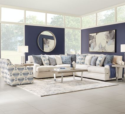 Cindy Crawford Home Bedford Park Ivory 3 Pc Sectional