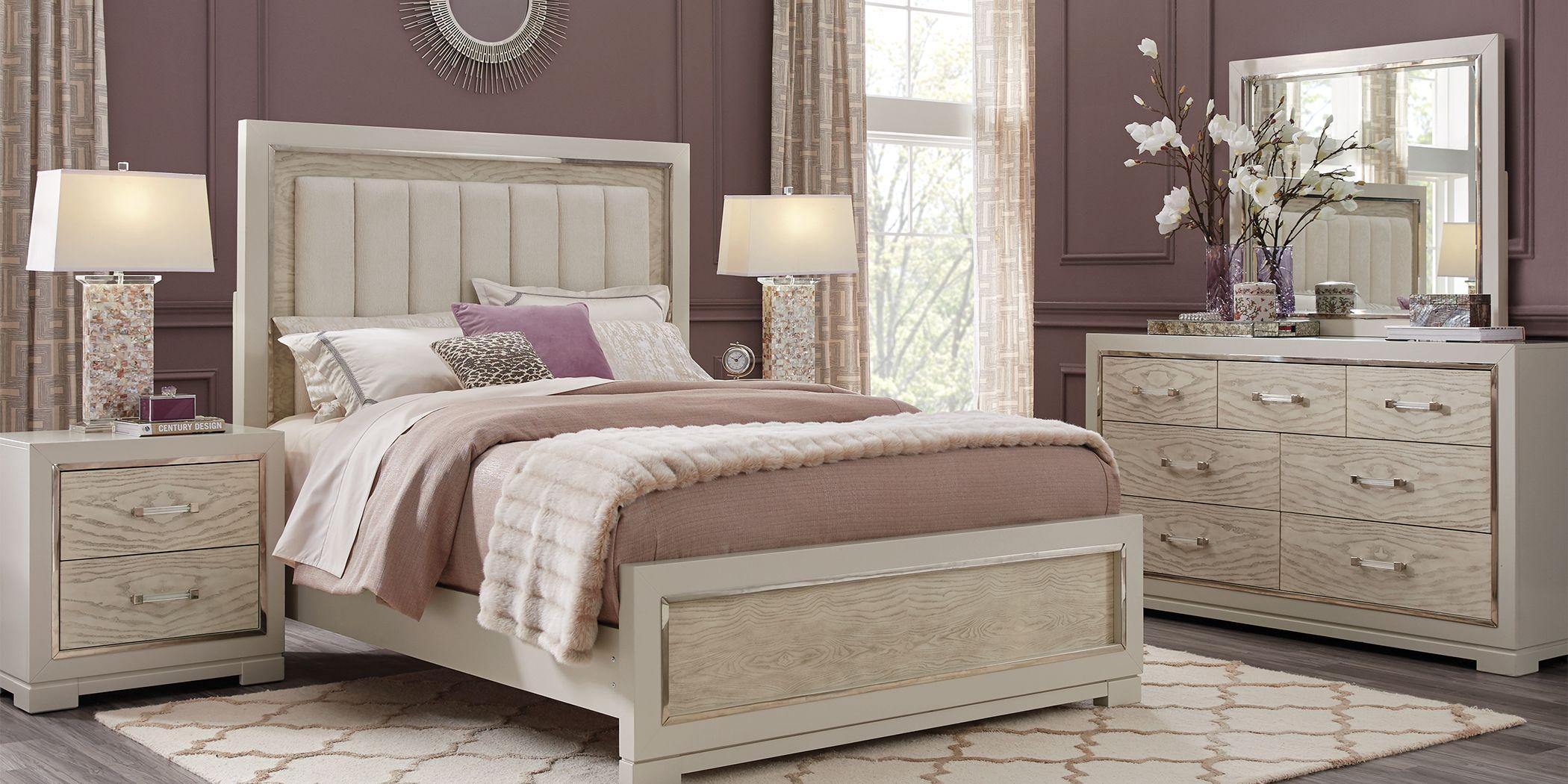 Cindy Crawford Home Bel Air Ivory 7 Pc King Panel Bedroom