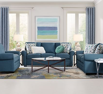 Cindy Crawford Home Bellingham Sapphire Microfiber 5 Pc Living Room