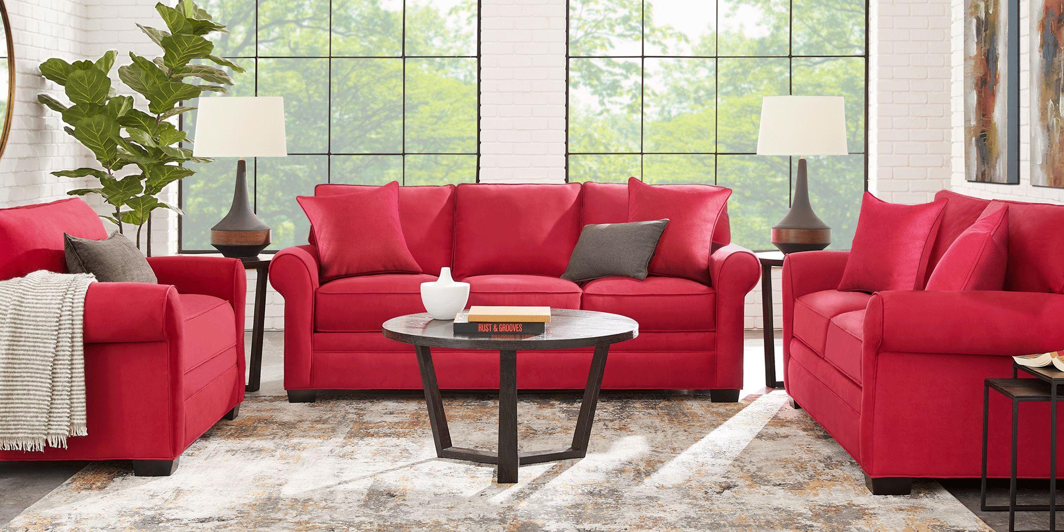 Cindy Crawford Home Bellingham Cardinal Microfiber 7 Pc Living Room