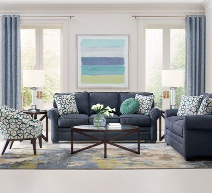 Cindy Crawford Home Bellingham Midnight Textured 7 Pc Living Room