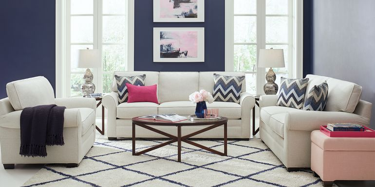 Cindy Crawford Home Bellingham Off-White Textured 5 Pc Living Room