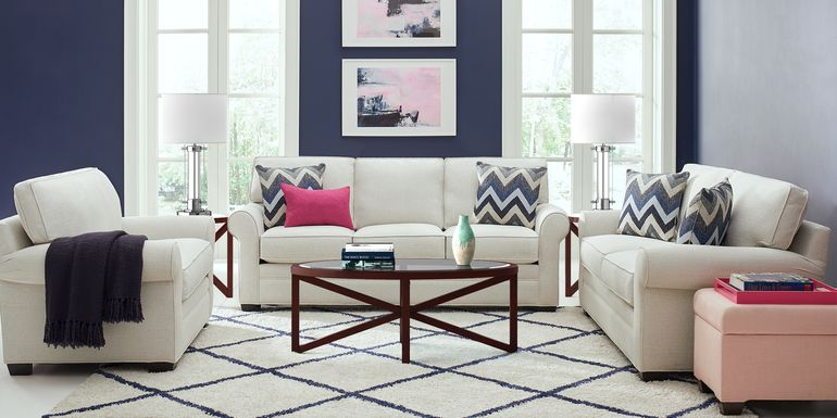 Cindy Crawford Home Bellingham Off-White Textured 7 Pc Living Room