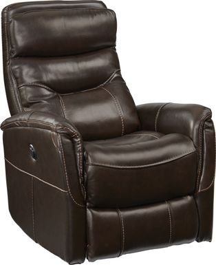 Cindy Crawford Home Bello Brown Leather Power Swivel Glider Recliner
