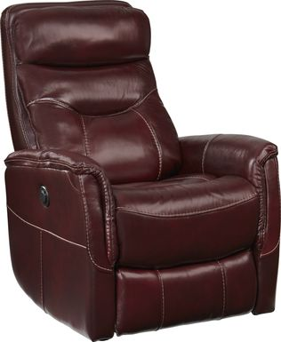 Cindy Crawford Home Bello Burgundy Leather Power Swivel Glider Recliner