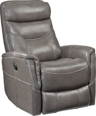 Cindy Crawford Home Bello Gray Leather Power Swivel Glider Recliner