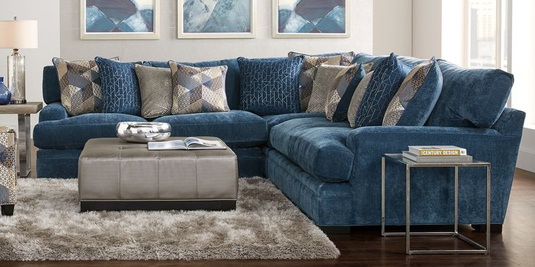 Blue Sectional Living Room Sets Fabric Microfiber