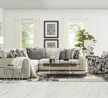 Cindy Crawford Home Broad Street Ivory 3 Pc Sectional