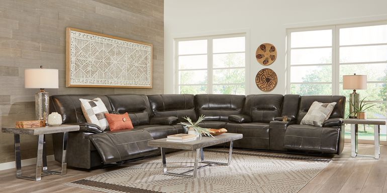 Cindy Crawford Home Caletta Gray 3 Pc Leather Reclining Sectional