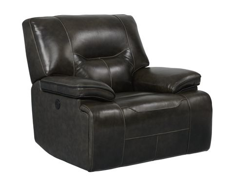 Cindy Crawford Home Caletta Gray Leather Power Recliner
