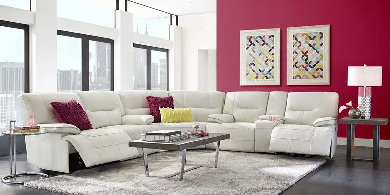 Cindy Crawford Home Caletta Off-White 3 Pc Leather Reclining Sectional